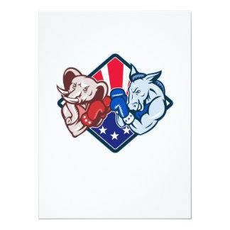 "Democrat Donkey Republican Elephant Mascot Boxing 5.5"" X 7.5"" Invitation Card"