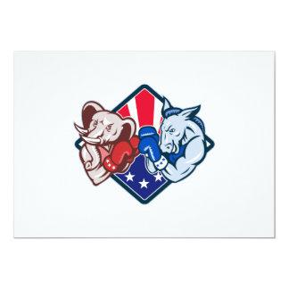 "Democrat Donkey Republican Elephant Mascot Boxing 5"" X 7"" Invitation Card"