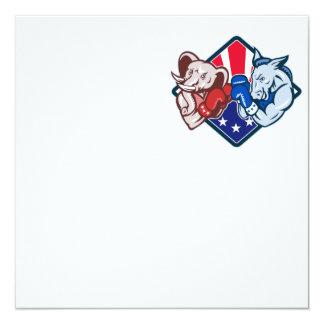 "Democrat Donkey Republican Elephant Mascot Boxing 5.25"" Square Invitation Card"