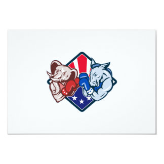 "Democrat Donkey Republican Elephant Mascot Boxing 3.5"" X 5"" Invitation Card"