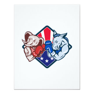 "Democrat Donkey Republican Elephant Mascot Boxing 4.25"" X 5.5"" Invitation Card"
