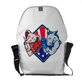Democrat Donkey Republican Elephant Mascot Boxing Messenger Bags