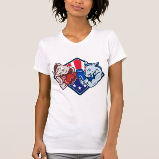 Democrat Donkey Republican Elephant Mascot Boxing Tee Shirt