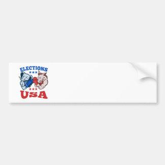 Democrat Donkey Republican Elephant Mascot USA Bumper Stickers