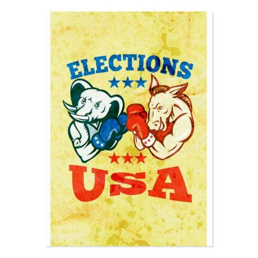 Democrat Donkey Republican Elephant Mascot USA Business Card