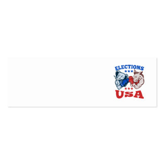 Democrat Donkey Republican Elephant Mascot USA Double-Sided Mini Business Cards (Pack Of 20)