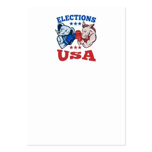 Democrat Donkey Republican Elephant Mascot USA Business Card Template