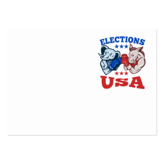 Democrat Donkey Republican Elephant Mascot USA Large Business Cards (Pack Of 100)