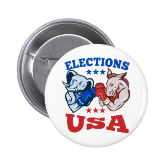 Democrat Donkey Republican Elephant Mascot USA 2 Inch Round Button