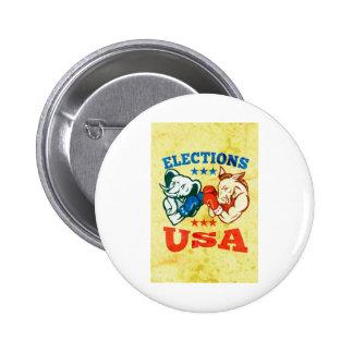 Democrat Donkey Republican Elephant Mascot USA Pinback Button