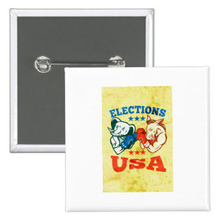 Democrat Donkey Republican Elephant Mascot USA 2 Inch Square Button