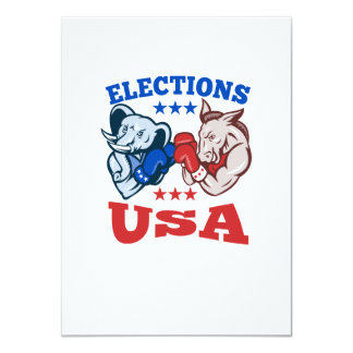 Democrat Donkey Republican Elephant Mascot USA Custom Invitations