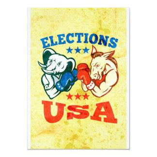 Democrat Donkey Republican Elephant Mascot USA Invitation