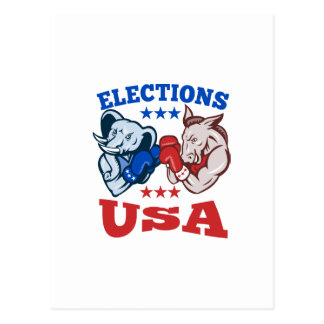 Democrat Donkey Republican Elephant Mascot USA Post Cards