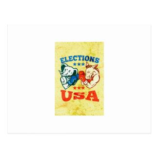 Democrat Donkey Republican Elephant Mascot USA Postcard