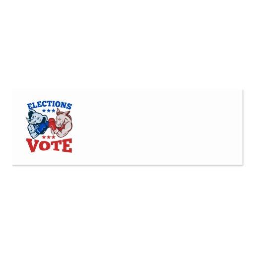 Democrat Donkey Republican Elephant Mascots Business Card Templates