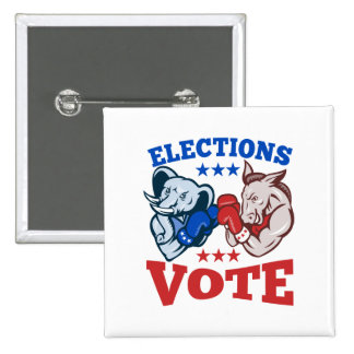 Democrat Donkey Republican Elephant Mascots 2 Inch Square Button