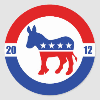 Democrat Donkey Round Sticker