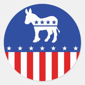 Democrat Donkey Round Sticker