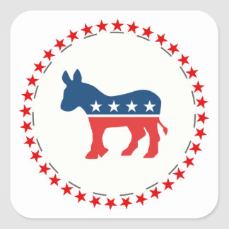 Democrat donkey square sticker