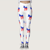Democrat Donkey Symbol Red White and Blue Leggings
