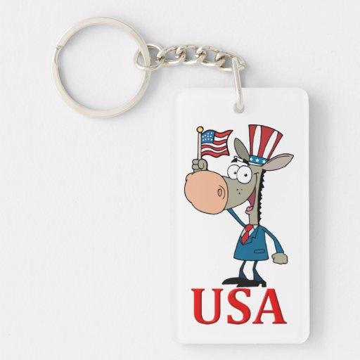 democrat donkey with usa acrylic keychains
