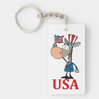 democrat donkey with usa Double-Sided rectangular acrylic keychain