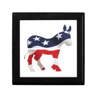 Democrat Donkey with USA Flag Superimposed Gift Box