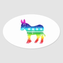Democrat Original Donkey Distressed Rainbow Oval Sticker