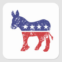 Democrat Original Donkey Distressed Square Sticker