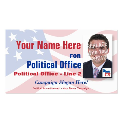 Democrat Political Election Campaign Business Card Template