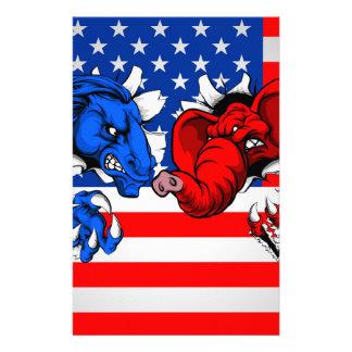 Democrat Republican Elephant Donkey Fight Stationery