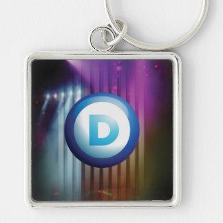 Democrat Silver-Colored Square Keychain