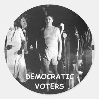 democrat voter fraud classic round sticker
