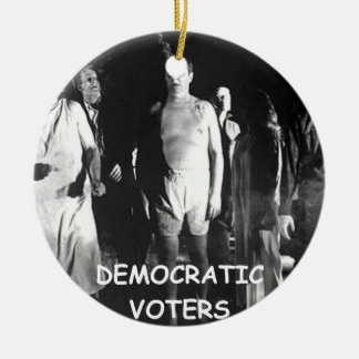 democrat voter fraud Double-Sided ceramic round christmas ornament