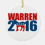 DEMOCRAT WARREN 2016 -.png Christmas Tree Ornaments
