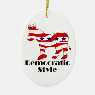 Democrat with Style (2) Ceramic Ornament