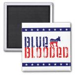 demócrata blooded azul imán cuadrado