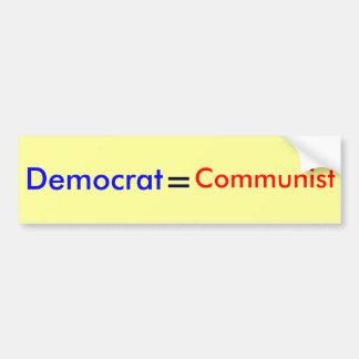 Demócrata, =, comunista pegatina para auto