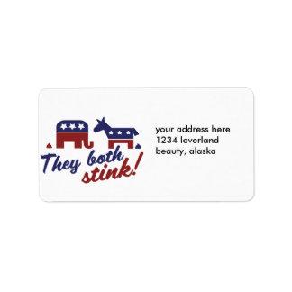 Demócrata o republicano etiquetas de dirección