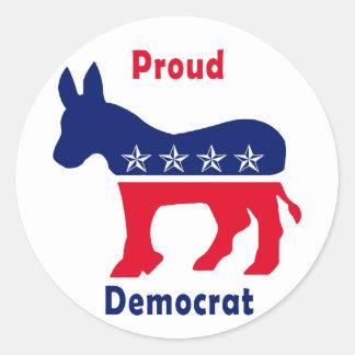 Demócrata orgulloso etiqueta redonda