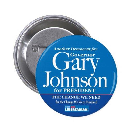 Demócrata para el botón de Gary Johnson Pin