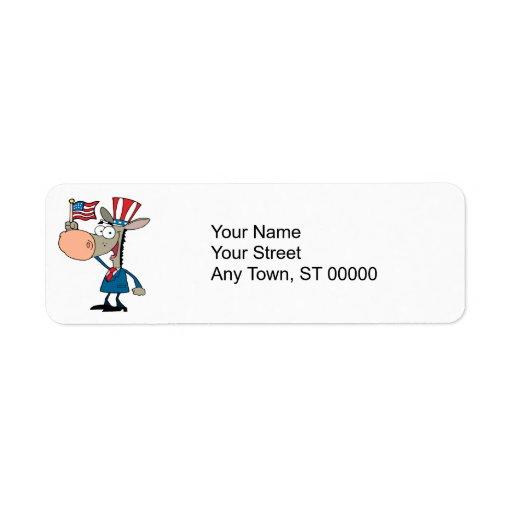 demócrata patriótico lindo del dibujo animado del  etiquetas de remite