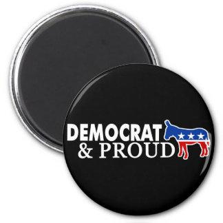 Demócrata y orgulloso imán redondo 5 cm