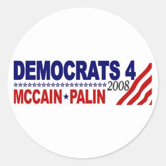 Demócratas 4 McCain Palin Etiqueta Redonda