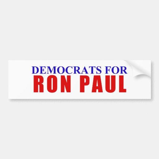 Demócratas para Ron Paul Etiqueta De Parachoque