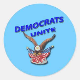 Demócratas unen el azul pegatina redonda