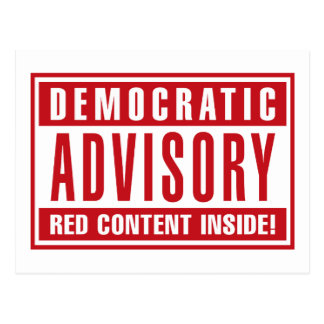 Democratic Advisory Red Content Inside - Red Postcard