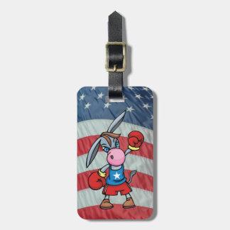 democratic donkey boxing luggage tag