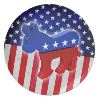 Democratic Donkey Party Plate